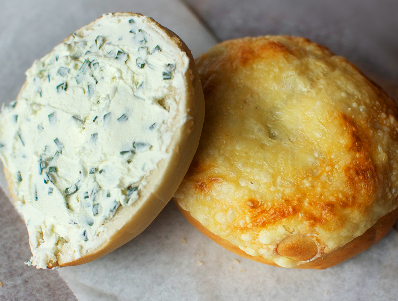 Swiss Cheese bagel  and Cream Cheese Spread w/Chives
